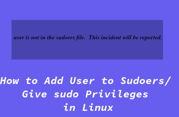 How to Add User to Sudoers / Give sudo Privileges in Linux